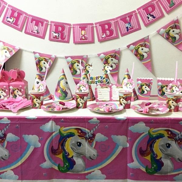 108pcs Lot Unicorn Plates Cups Kids Birthday Party Supplies