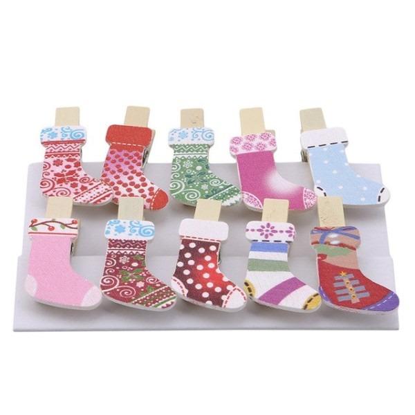 10pcs  Set Stocking Socks Wooden Diy Photo Clips Birthday Unicorn