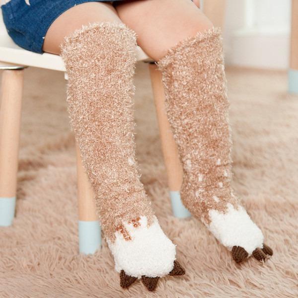 1 Pair Winter Socks Anti Slip Kids Children's Knee High Sock Long