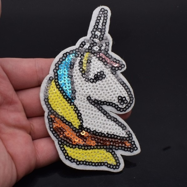 1pc Unicorn Patches For Clothes Iron On Sequin Applique