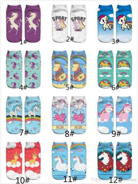 2018 Cute Kids Children Teenager Girls 3d Printed Unicorn Socks