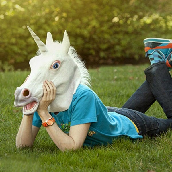 2018 New Arrival Funny Halloween White Unicorn Horse Head Mask