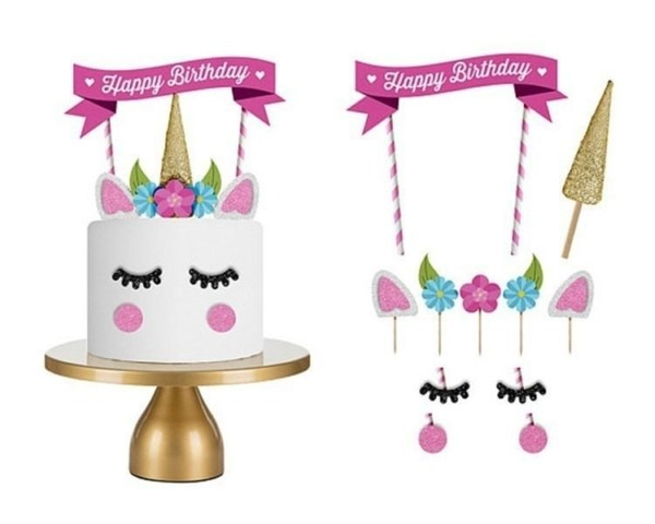 2018 Unicorn Birthday Cake Topper Happy Birthday Candle Party