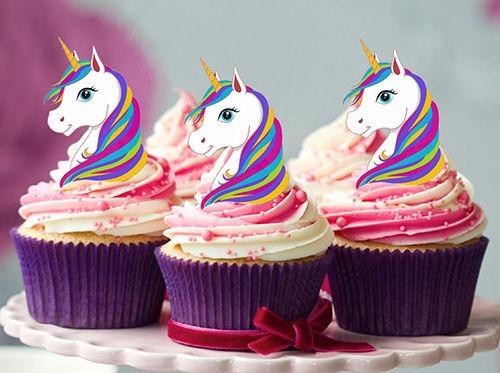 24 Stand Up Mini Rainbow Unicorn Edible Cupcake Cake Decoration