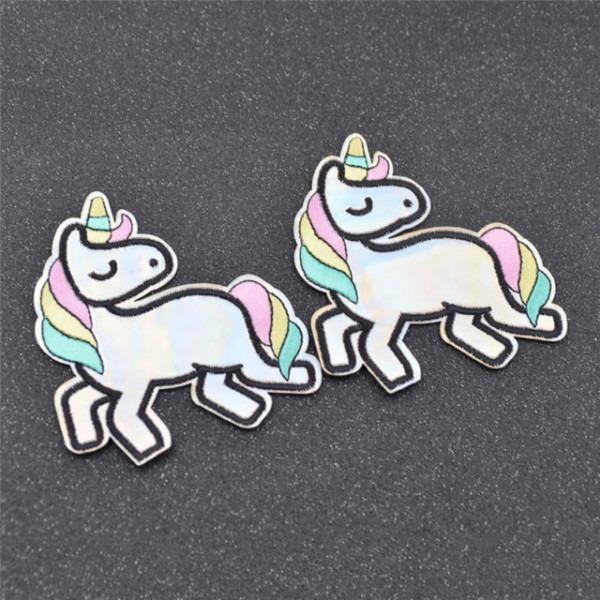 2 Pcs Diy Unicorn Embroidery Applique Iron On Patch Clothes Bag