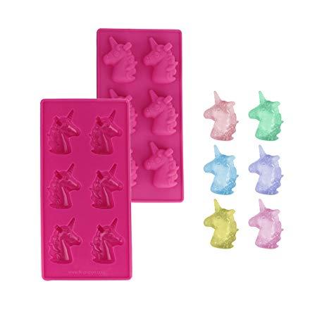 2 X Ice Cube Tray Silicone Mould Unicorn Unicorn Design In Pink