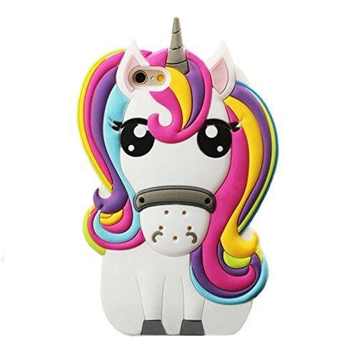 Amazon Com  Iphone 5c Case, 3d Cartoon Silicone Rainbow Unicorn