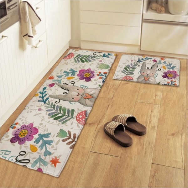 50x80+50x120cm Set Painted Rabbit Kitchen Mat Anti