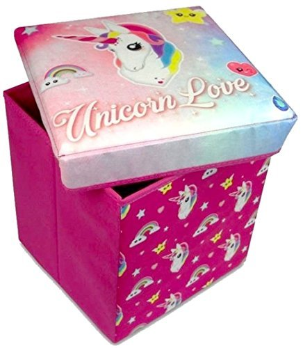 Hunter Price Girls Pink Unicorn Toy Storage Box & Cushioned