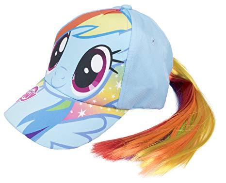 Girls My Little Pony Baseball Cap Hair Tail Rainbow Unicorn Hat +