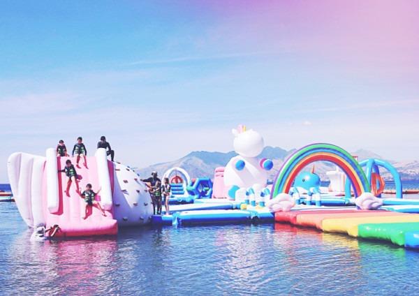 A Giant Inflatable Unicorn Island Exists