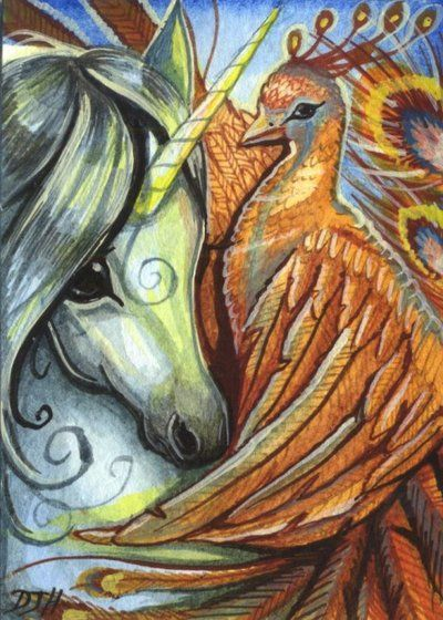 Aceo Phoenix's Embrace By Dawnunicorn Deviantart Com On