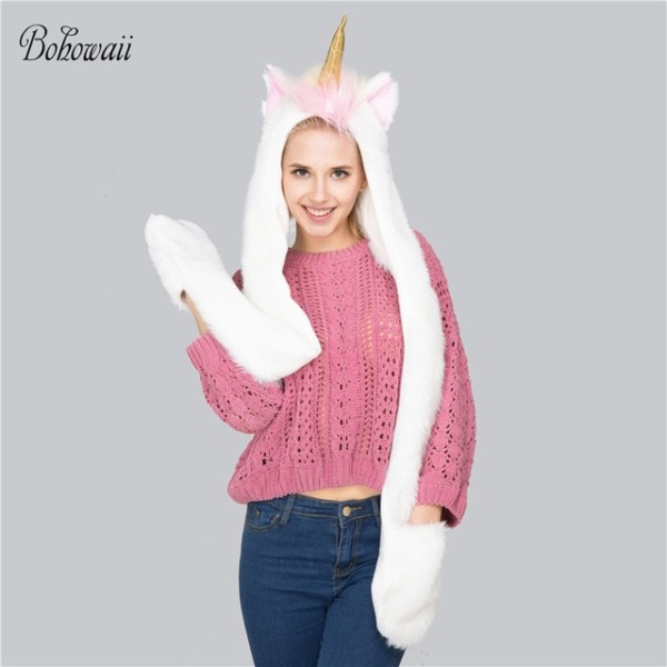 Aliexpress Com  Compre Bohowaii Unicorn Hat Scarves Gloves 3 In 1