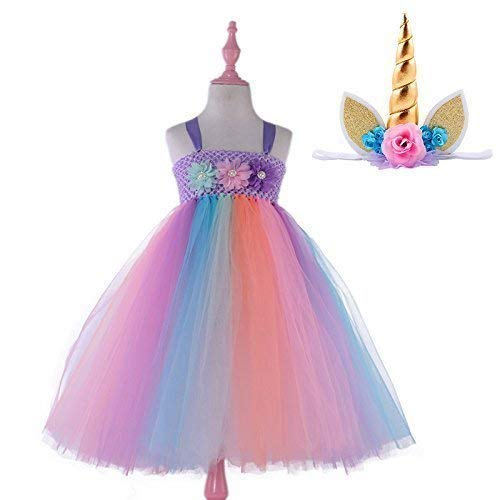 Amazon Com  Candy Rainbow Princess Girls Unicorn Tutu Dress With
