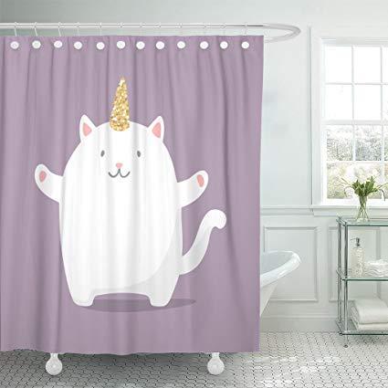 Amazon Com  Emvency Shower Curtain Pink Cute Cartoon Caticorn In