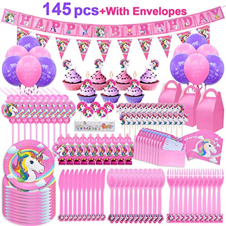 Amazon Com  Pawliss 145ct Unicorn Birthday Party Decorations