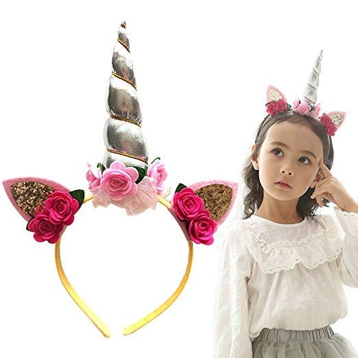 Amazon Com  Pengduo Girls Unicorn Horn Headband Costume Party