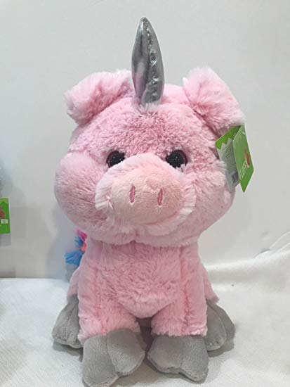Amazon Com  Plush Stuffed Sitting Unicorn Pig With Rainbow Bushy