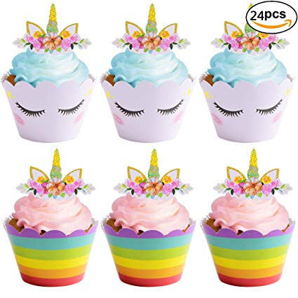 Amazon Com  Set Of 24 Rainbow Unicorn Cupcake Wrappers Toppers