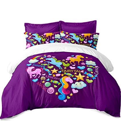 Amazon Com  Unicorn Bedroom Decor,3d Bedding Duvet Cover Set Queen