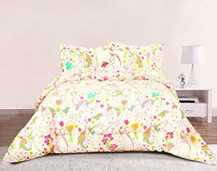Amazon Com  Unicorn Girls Bedding Twin 3 Piece Comforter Bed Set