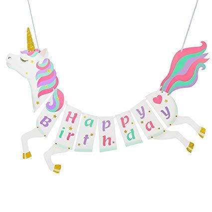 Amazon Com  Unicorn Happy Birthday Banner