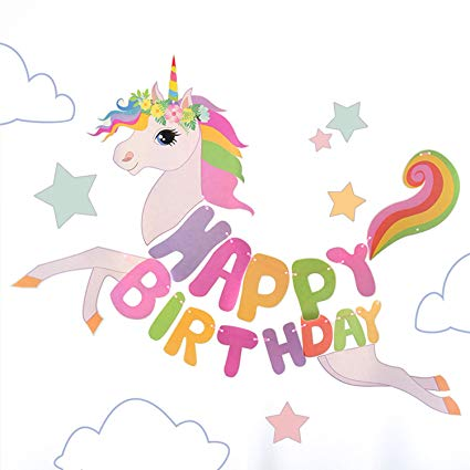 Amazon Com  Unicorn Happy Birthday Banner, Unicorn Birthday Party