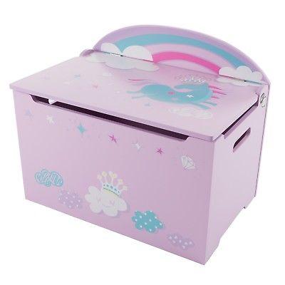 Baby Toddler Toy Box Storage Bench Unicorn Rainbow Kids Room
