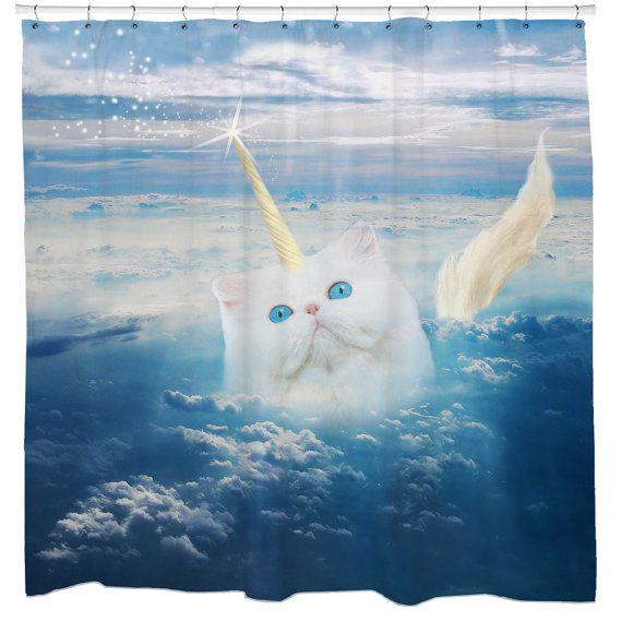 Cat Shower Curtain, Unicorn Shower Curtain, Funny Shower Curtain