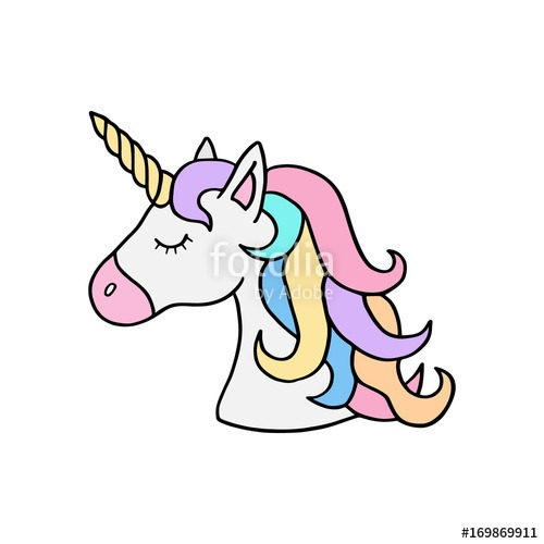 Colorful Rainbow Unicorn Vector Illustration Drawing  Cute