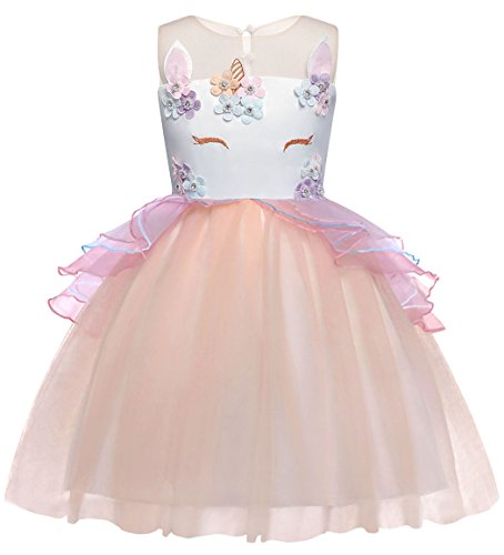 Cotrio Baby Girls Unicorn Costume Dress Pageant Party Dresses