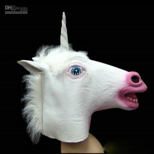 Creepy Animal Horse Head Mask Unicorn Horned Masks Halloween