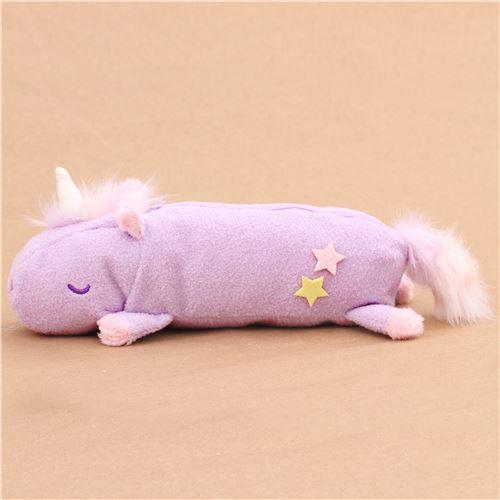 Cute Fluffy Plush Light Purple Unicorn Pencil Case From Japan