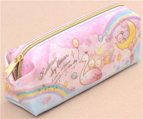 Cute Pink Blue Swan Rabbit Unicorn Glitter Pencil Case From Japan