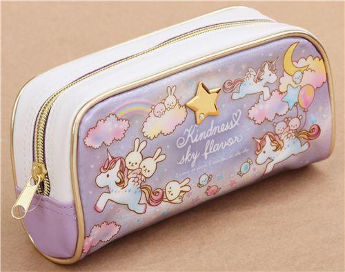 Cute Purple White Unicorn Bunny Glitter Dream Pencil Case From