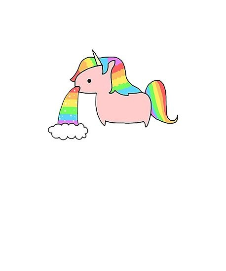 Cute Rainbow Unicorn Throwing Up A Rainbow   Posters By Cbsbundles