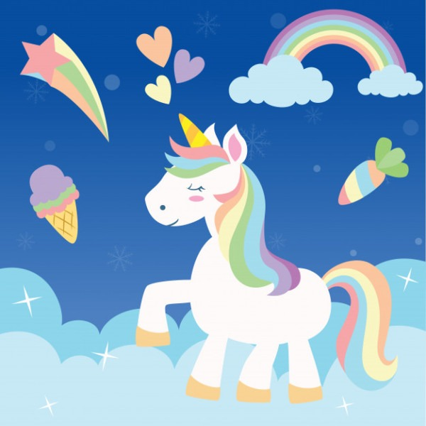 Cute Rainbow Unicorn Vector