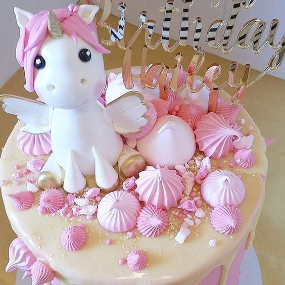 Cute Unicorn Cake! Gold And Pink Color Scheme! Simply Perfect For