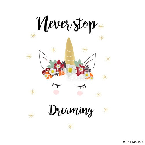 Cute Unicorn Face With Motivational Quote In Vector  Stock Image