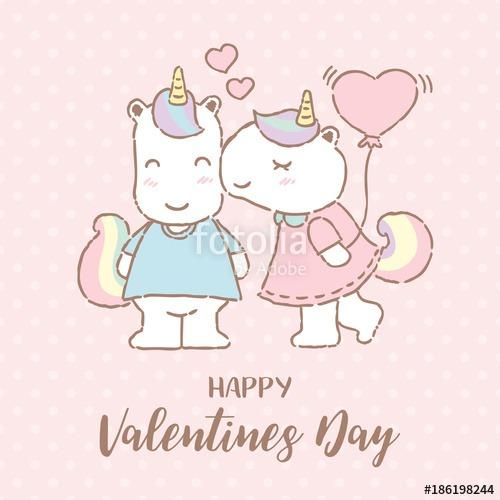 Cute Unicorn Kissing Her Boyfriend On Valentine's Day, Vector