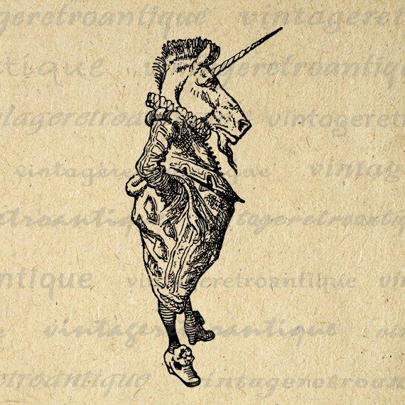 Digital Image Alice In Wonderland Unicorn Download Graphic
