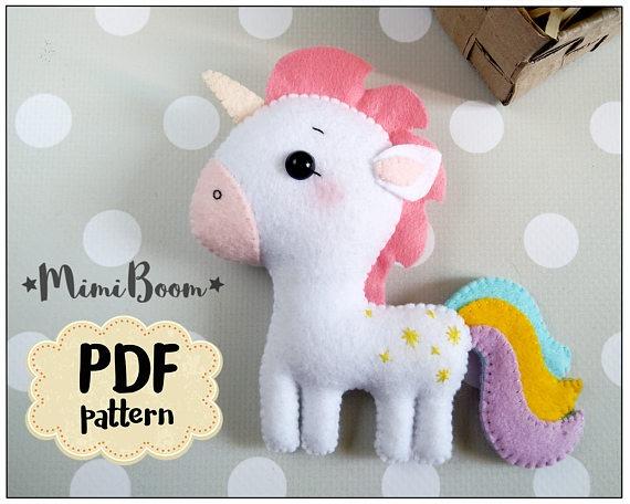 Felt Unicorn Pattern Pdf Unicorn Doll Sewing Pattern Unicorn
