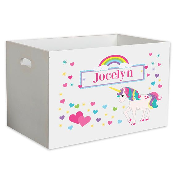 Girls Personalized Unicorn Toy Box Toys Storage Bin Crate For