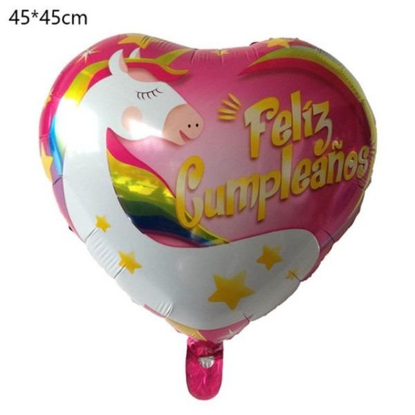 Free Shipping 18inch Unicorn Party Spanish Feliz Cumpleanos Air