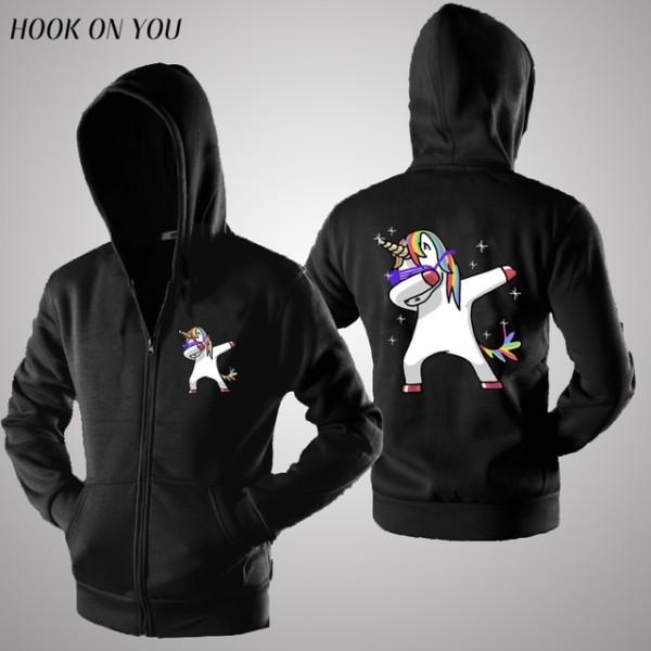Funny Dab Unicorn Hoodies Sweatshirts Women Men Unsex Zipper