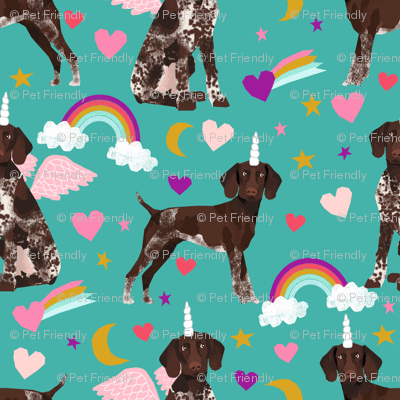 German Shorthaired Pointer Fabric Rainbows Unicorns And Pegasus