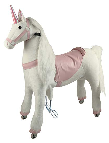 Girls Gift Mechanical Ride On Unicorn Simulated Horse Riding On