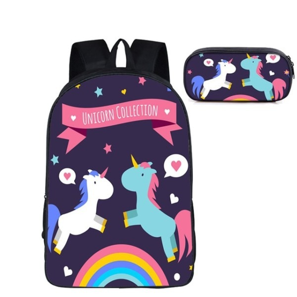 Girls Unicorn Backpack And Pencil Bag Set For Primary School