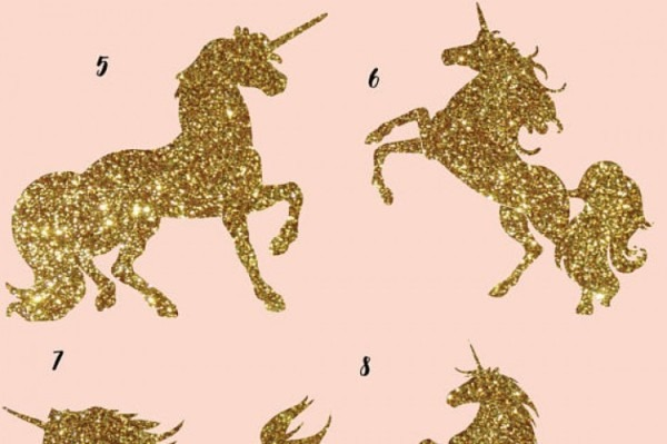 Gold Glitter And Galaxy Unicorns Clipart By Fantasy Cliparts