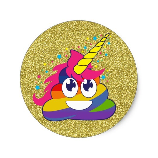 Gold Glitter Rainbow Poop Unicorn Emoji Stickers